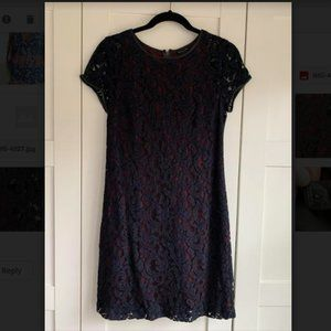 CLUB MONACO LACE DRESS WITH LEATHER DETAIL